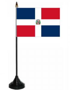 Dominican Republic Desk / Table Flag with plastic stand and base.
